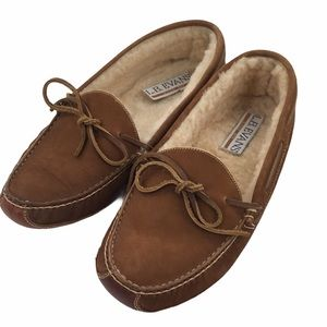 L.B. Evans Brown Leather Sherpa Lined Slippers 11